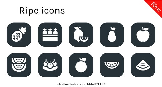 ripe icon set. 10 filled ripe icons.  Simple modern icons about  - Pineapple, Carrots, Lemons, Pear, Apple, Watermelon, Bitterballen, Orange