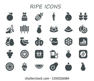 ripe icon set. 30 filled ripe icons.  Collection Of - Orange, Strawberry, Pineapple, Carrot, Wheat, Banana, Pear, Bitterballen, Watermelon, Avocado, Bananas, Apple, Juice, Berry