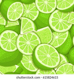 Ripe juicy tropical lime background. Vector card illustration. Closely spaced fresh citrus green lemon fruit peeled, piece of half, slice. Seamless pattern for packaging design healthy food, diet juce