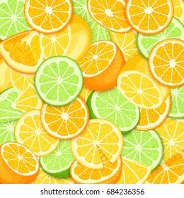 Ripe juicy tropical orange lime lemon background. Vector card illustration. Closely spaced fresh citrus orange fruit peeled, piece of half, slice. Pattern for packaging design healthy food, diet, juce
