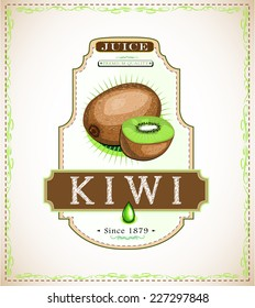 Ripe kiwi and a piece of kiwi, juice or food product label, hand-drawn EPS 10