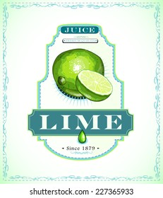Ripe lime with a piece, juice or food product label, hand-drawn EPS 10