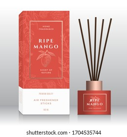 Ripe Mango Home Fragrance Sticks Abstract Vector Label Box Template. Hand Drawn Sketch Flowers, Leaves Background. Retro Typography. Room Perfume Packaging Design Layout. Realistic Mockup. Isolated.