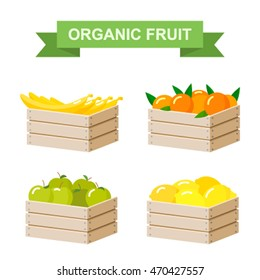 Ripe organic fruits in wooden boxes set. flat vector illustration isolate on a white background