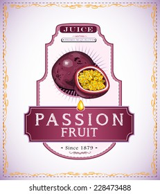 Ripe passion fruit and a cut piece of it on a juice or fruit product label or emblem EPS 10