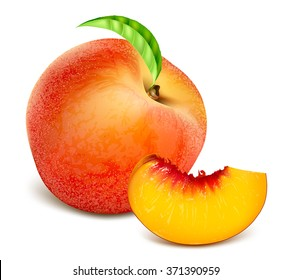 Ripe peaches, whole and slice. Fully editable handmade mesh. Vector illustration.