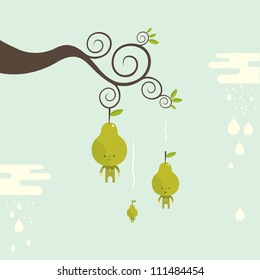 ripe Pear characters falling from tree branch