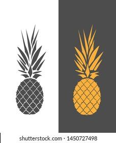 Ripe pineapple isolated on white. Vector illustration