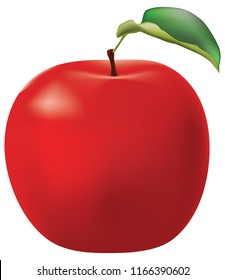 Ripe red apple with a leaf. Vector illustration