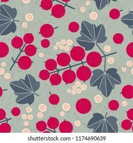 Ripe red currant seamless pattern. Red currant with leaves and flowers on shabby background. Original simple flat illustration. Shabby style.
