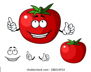 Ripe red happy tomato vegetable with a big smile and green stalk. Cartoon illustration
