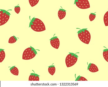 Ripe red strawberries on pastel yellow background look so cute. Sweet and delicious fruit for make dessert or pastry and have high vitamin. Vector design seamless pattern in minimal wallpaper concept.