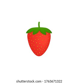 Ripe red strawberry on isolated white background. Fruit vector illustration.