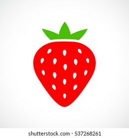 Ripe red strawberry vector icon