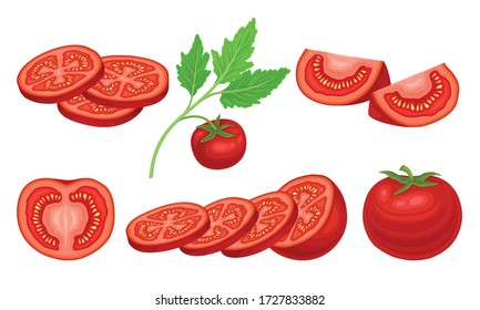 Ripe Red Tomato Vegetable Whole and Sliced Showing Juicy Flesh with Small Yellow Seeds Vector Set
