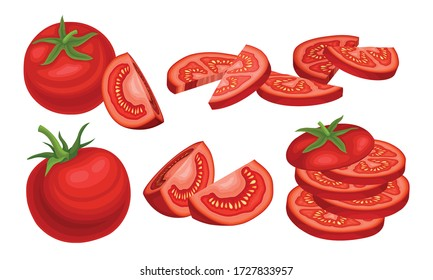 Ripe Red Tomato Vegetable Whole and Halved Showing Juicy Flesh with Small Yellow Seeds Vector Set