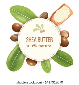 Ripe shea nuts and leaf Round Circle badge. shi tree pods whole and cracked. Vitellaria paradoxa. Card template copy space. for cooking, cosmetics, aromatherapy, perfume, food, healthcare, ointments