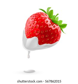 Ripe Strawberries with Drop of Heavy Whipping Cream on White Background