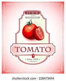 Ripe tomato and a cut piece of it on a juice or fruit product label or emblem EPS 10
