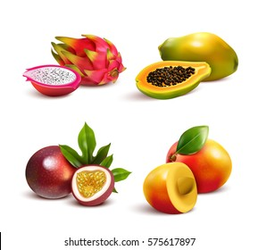Ripe tropical fruits and slices realistic set with isolated images of mango pitaya papaya and passionfruit vector illustration