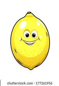 Ripe yellow little lemon with a happy grin isolated on white, cartoon vector illustration