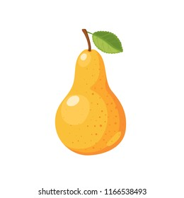 Ripe yellow pear isolated on white background.  Vector illustration.