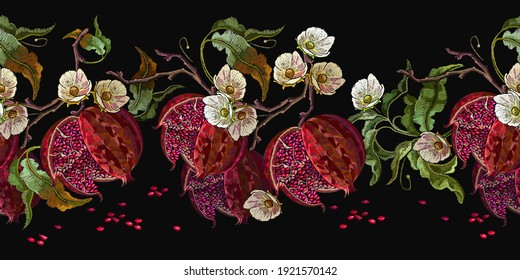 Ripened red pomegranate and white flowers. Horizontal seamless pattern. Fashion template for clothes, t-shirt design, textile. Autumn garden art