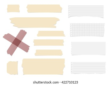 Ripped blank note paper, brown sticky, adhesive tapes are stuck on white wall