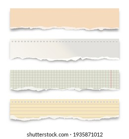 Ripped colorful paper strips isolated on white background. Realistic crumpled paper scraps with torn edges. Lined shreds of notebook pages. Vector illustration.