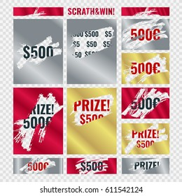 Ripped effect marks. Suitable for scratch card game and win. Vector
