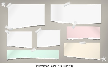 Ripped note, notebook paper strips stuck wiht sticky tape are on grey background. Vector illustration