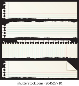 Ripped Notebook Paper Scrap Banners
