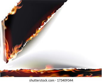 Ripped paper background with flames