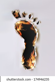 Ripped paper collection and flames Foot print