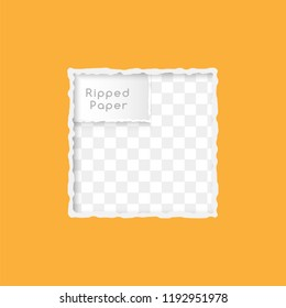 Ripped paper design element. Square  frame with copy space