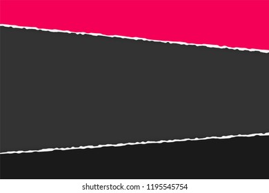 Ripped paper design element. Two horizontal borders in pink and black colors on the grey background