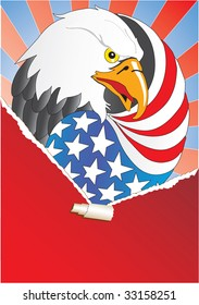Ripped paper and Eagle with wing like a American flag