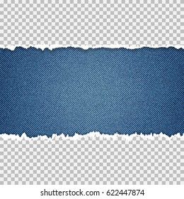 Ripped paper on denim background. Place for your text.