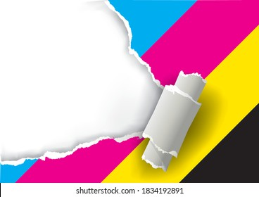 Ripped paper with print colors.  Illustration of torn  paper with place for your image or text. Concept for presenting color printing. Vector available