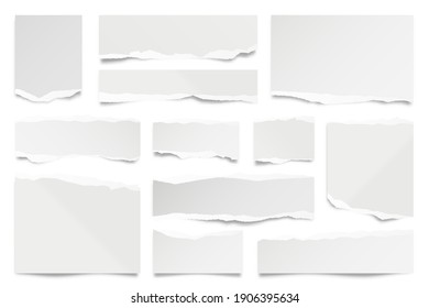 Ripped paper strips isolated on white background. Realistic paper scraps with torn edges. Sticky notes, shreds of notebook pages. Vector illustration.