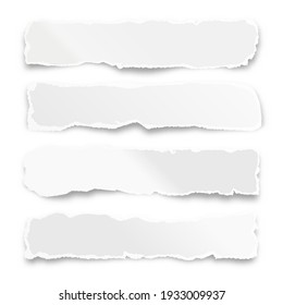 Ripped paper strips isolated on white background. Realistic crumpled paper scraps with torn edges. Shreds of notebook pages. Vector illustration.