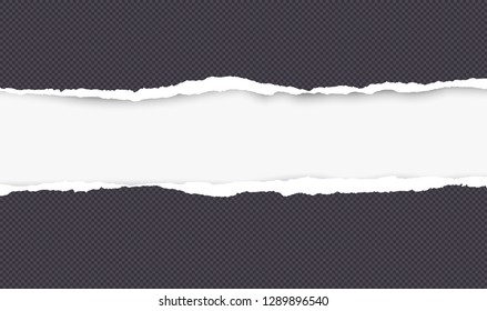 Ripped squared black horizontal paper for text or message are on white background. Vector illustration