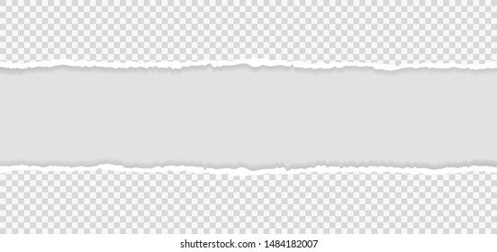 Ripped squared horizontal paper strips for text or message. Torn paper edge. Torn paper stripes. Vector illustration.
