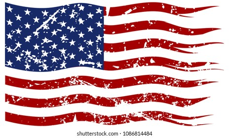 A ripped and torn American flag with a grunge filter isolated on a white background
