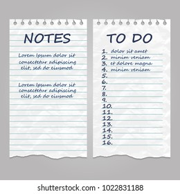 Ripped vintage paper pages for notes and to do list. Remember message notepad with handwriting text. Vector illustration