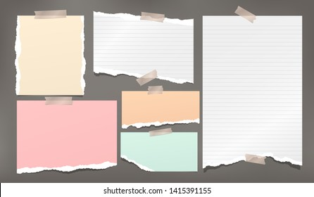 Ripped white and colorful note, notebook paper strips stuck wiht sticky tape on dark grey background. Vector illustration