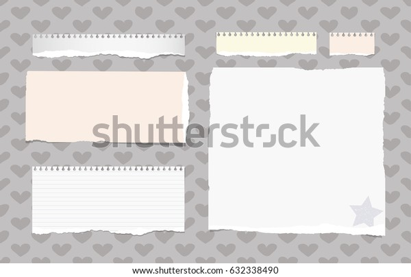 Ripped white, colorful ruled note, notebook, copybook sheets stuck on pattern created of heart shapes and star on paper corner