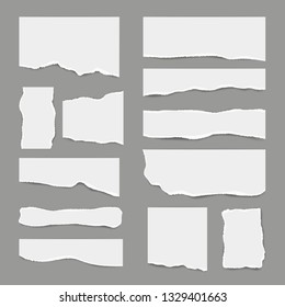 Ripped white paper. Torn light scrap note paper for notes pieces vector realistic pictures for banners