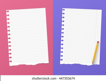 Ripped white ruled and grid notebook paper sheets are on colorful background with yellow pencil