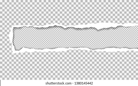 Ripped white squared paper with soft shadow is on squared background. Vector illustration